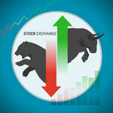 Stock market concept bull vs bear with up and down arrow. On blue graph background Stock Image