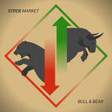 Stock market concept bull vs bear with up and down arrow. On brown paper background Royalty Free Stock Images