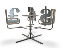 Stock market concept with carousel. Illustration isolated Royalty Free Stock Images