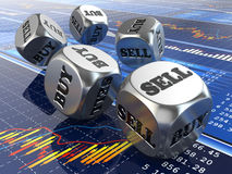 Stock market concept. Dice on financial graph. 3d Stock Photos