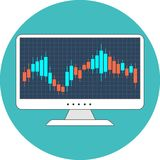 Stock market concept. Flat design. Icon in turquoise circle on white background Royalty Free Stock Photos