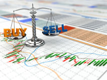 Stock market concept. Scale on financial graph. 3d Royalty Free Stock Images