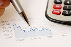 Stock market crash. Chart, pen and calculator stock photo