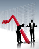 Stock market crash. Perplexity of two business men stock illustration