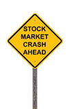 Stock Market Crash Ahead - Caution Sign Royalty Free Stock Photos