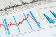 Stock market crash. Collapse of quotations, graphics on the desk stock photos
