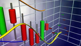 Stock market crash. 3D animation of a stockmarket chart. The chart is made up by candlesticks, which is a common method for stockmarket analysis. The chart stock illustration