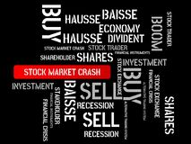 STOCK MARKET CRASH - image with words associated with the topic STOCK EXCHANGE, word cloud, cube, letter, image, illustration Stock Photos