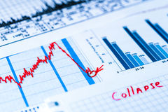 Stock market crash, point of the collapse. Analysis of the market data. In blue tones stock images