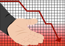 Stock market crash recession. Illustration with graph of stock market crash and empty hand Stock Images