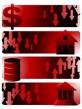 Stock Market Crisis banners 01. Horizontal banners showing stock market crisis icons Stock Image