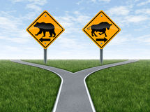 Stock Market crossroads With Bull and Bear Signs Royalty Free Stock Image