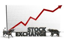 Stock market, 3d illustration with bull and bear figures Stock Photo