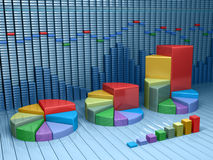 Stock market data with different graphs and charts. Business  illustration Royalty Free Stock Photography