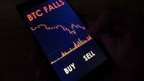 Stock market data with info btc falls  buy or sell. Stock market data with info btc falls and buttons buy and sell stock video footage