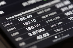 Stock market data on iPhone Stocks app Stock Images