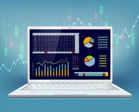 Stock market data on laptop screen. Graph and chart with financial information. Vector illustration Royalty Free Stock Photos