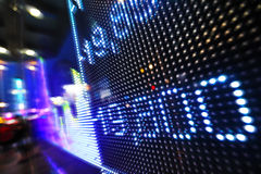 Stock market data on LED display Stock Photo
