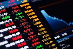 Stock market data on screen Stock Image