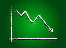 Stock market decrease green Stock Photography