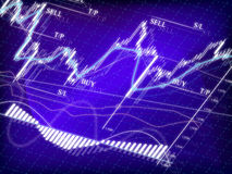 Stock market diagram. Blue stock market diagram with japanese candles Stock Image