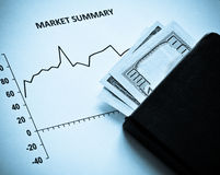 Stock Market and dollars in blue Royalty Free Stock Photos