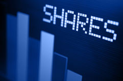 Stock Market Down. Stock Market - Column Going Down on Blue Display stock images