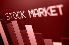 Stock Market Down. Stock Market - Column Going Down on Red Display - Shallow Depth of Field stock images