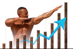 Stock market and economic strength. Strong market and economic strength represented by stone graph and muscular man. Available in PNG format with transparent Stock Photography