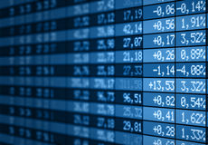 Stock market electronic board blue Royalty Free Stock Images
