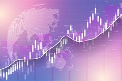 Stock market and exchange. Business Candle stick graph chart of stock market investment trading. Stock market data. Bullish point, Trend of graph. Vector Royalty Free Stock Image