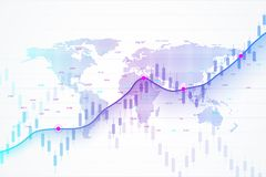 Stock market and exchange. Candle stick graph chart of stock market investment trading. Stock market data. Bullish point. Trend of graph. Vector illustration Stock Photos