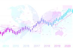 Stock market and exchange. Candle stick graph chart of stock market investment trading. Stock market data. Bullish point. Trend of graph. Vector illustration Royalty Free Stock Images