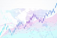 Stock market and exchange. Candle stick graph chart of stock market investment trading. Stock market data. Bullish point. Trend of graph. Vector illustration Stock Photography