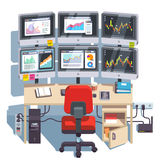 Stock market exchange trader desk with displays Royalty Free Stock Photography