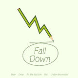 Stock market fall by green pencil Stock Photography