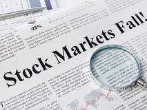 Stock market fall headline Royalty Free Stock Images