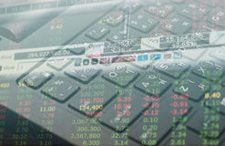 Stock market Finance  data on keyboard background business concept for background use Royalty Free Stock Images