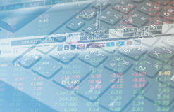 Stock market Finance  data on keyboard background business concept for background use Royalty Free Stock Photo