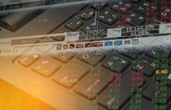 Stock market Finance  data on keyboard background business concept for background use Stock Photography