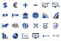 Stock market finance icon set. Stock market exchange and finance icon set concept illustration. Ideas for website and app layout Royalty Free Stock Photos