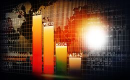 Stock market and financial data chart. Digital marking concept. 3d render Stock Photo