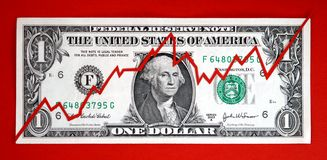 Stock Market Flux. US dollar bill with graphic showing business concept of fluctuations of investing in the stock market (red background Stock Illustration