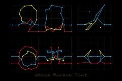 Stock Market Font - Numbers 9, 0, Social and Financial symbols. Stock Market Font on black background Stock Images