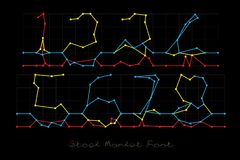 Stock Market Font - Numbers 1, 2, 3, 4, 5, 6, 7, 8. Stock Market Font on black background Stock Images