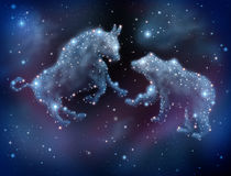Stock Market Forecasting. And investment predictions with financial icons of a bull and bear made of shinning constellation stars on a night sky in space as a Stock Photography