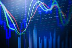 Stock market or forex trading graph and candlestick chart - investing and stock market profits display royalty free stock images