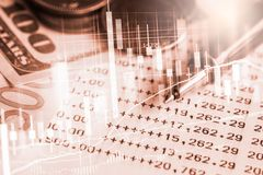 Stock market or forex trading graph and candlestick chart suitable for financial investment concept. Economy trends background. For business idea and all art stock photo