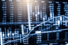 Stock market or forex trading graph and candlestick chart suitable for financial investment concept. Economy trends background. For business idea and all art stock image