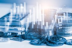 Stock market or forex trading graph and candlestick chart suitable for financial investment concept. Economy trends background. For business idea and all art royalty free stock images
